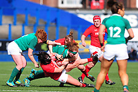 Amy Evans of Wales under pressure from Aoife McDermott of Ireland during the Women's Six Nations match between Wales and Ireland at Cardiff Arms Park, Cardiff, Wales, UK. Sunday 17 March 2019