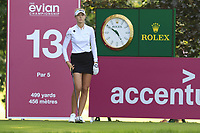 Nelly Korda (USA) on the 13th tee during Friday's Round 2 of The Evian Championship 2018, held at the Evian Resort Golf Club, Evian-les-Bains, France. 14th September 2018.<br /> Picture: Eoin Clarke | Golffile<br /> <br /> <br /> All photos usage must carry mandatory copyright credit (&copy; Golffile | Eoin Clarke)