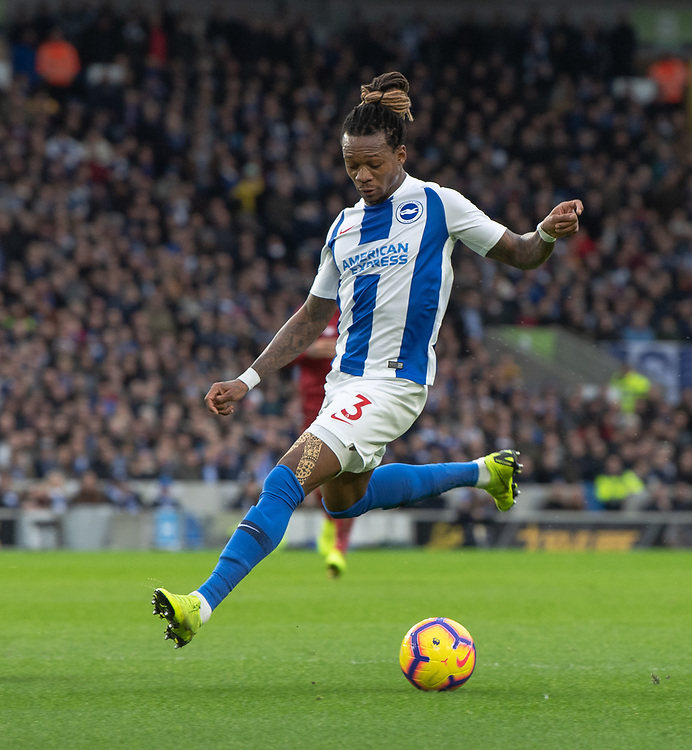 Brighton & Hove Albion's Gaetan Bong<br /> <br /> Photographer David Horton/CameraSport<br /> <br /> The Premier League - Brighton and Hove Albion v Liverpool - Saturday 12th January 2019 - The Amex Stadium - Brighton<br /> <br /> World Copyright © 2018 CameraSport. All rights reserved. 43 Linden Ave. Countesthorpe. Leicester. England. LE8 5PG - Tel: +44 (0) 116 277 4147 - admin@camerasport.com - www.camerasport.com