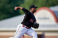 Batavia Muckdogs pitcher Alberto Guerrero (41) delivers a pitch during a game against the West Virginia Black Bears on July 2, 2018 at Dwyer Stadium in Batavia, New York.  West Virginia defeated Batavia 3-1.  (Mike Janes/Four Seam Images)