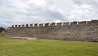 Structure 44, South side of the Central Plaza, largest structure at Dzibilchaltun and longest known in Maya architecture at 130 meters long, Staircase with rounded corners built of large blocks reinforced with smaller flagstones, one of the widest stairways known in ancient Mesoamerican city, used during the Late and Terminal Classic periods (AD 600 - 1000), Dzibilchaltun, Yucatan, Mexico. Picture by Manuel Cohen