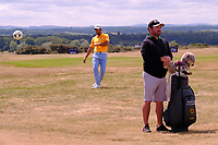 Adrian Otaegui (ESP) world cup fever as Craig Connolly (Wee man) nay bothered during the preview of the Aberdeen Standard Investments Scottish Open, Gullane Golf Club, Gullane, East Lothian, Scotland. 11/07/2018.<br /> Picture Fran Caffrey / Golffile.ie<br /> <br /> All photo usage must carry mandatory copyright credit (&copy; Golffile | Fran Caffrey)