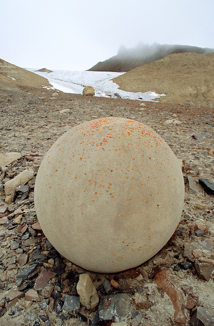 One of the remarkable spherical stones on Champ Island. Franz Josef Land, Russia.