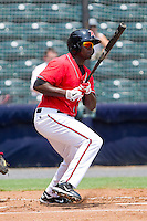 Wendell Fairley #16 of the Richmond Flying Squirrels follows through on his swing against the Harrisburg Senators at The Diamond on July 22, 2011 in Richmond, Virginia.  The Squirrels defeated the Senators 5-1.   (Brian Westerholt / Four Seam Images)