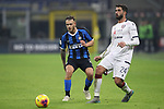 Paolo Farago of Cagliari and Federico Dimarco of Inter during the Coppa Italia match at Giuseppe Meazza, Milan. Picture date: 14th January 2020. Picture credit should read: Jonathan Moscrop/Sportimage