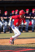 Anthony Dimino (2) of the Belmont Abbey Crusaders hustles down the first base line against the Shippensburg Raiders at Abbey Yard on February 8, 2015 in Belmont, North Carolina.  The Raiders defeated the Crusaders 14-0.  (Brian Westerholt/Four Seam Images)