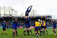 Bath Rugby forwards practise their lineout during the pre-match warm-up. Heineken Champions Cup match, between Bath Rugby and Wasps on January 12, 2019 at the Recreation Ground in Bath, England. Photo by: Patrick Khachfe / Onside Images