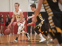 NWA Democrat-Gazette/J.T. WAMPLER Pea Ridge's Joey Hall drives downcourt while Prairie Grove's Isaac Disney defends Tuesday Feb. 2, 2016. Pea Ridge won 57-29. For a gallery of game images go to: http://nwamedia.photoshelter.com/