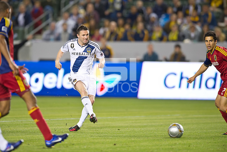 CARSON, CA - March 10,2012: LA Galaxy forward Robbie Keane (7) during the LA Galaxy vs Real Salt Lake match at the Home Depot Center in Carson, California. Final score LA Galaxy 1, Real Salt Lake 3.