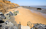 Rapidly eroding soft cliffs at Walton on the Naze, Essex, England