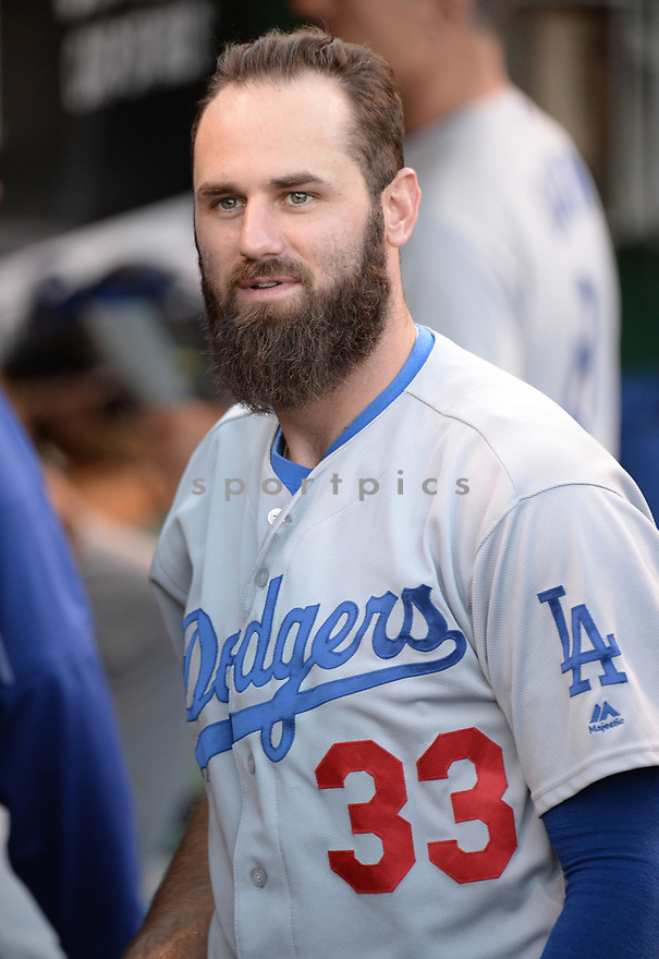 Los Angeles Dodgers Scott Van Slyke (33) during a game against the Pittsburgh Pirates on June 26, 2016 at PNC Park in Pittsburgh, PA. The Dodgers beat the Pirates 4-3.