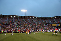 SAN FRANCISCO, CA - JULY 12:  Overall wide scenic interior view of former San Francisco 49ers great Jeff Garcia in action during the Legends of Candlestick flag football game at Candlestick Park in San Francisco, California on July 12, 2014. Photo by Brad Mangin