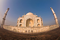 Exterior view of Taj Mahal, built by the Mughal emperor Shah Jahan in the memory of his beloved wife Mumtaz Mahal.<br /> (Photo by Matt Considine - Images of Asia Collection)