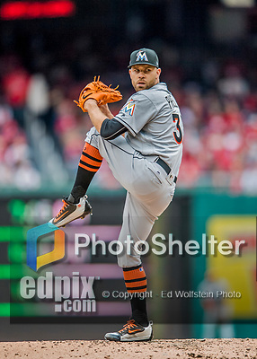 3 April 2017: Miami Marlins pitcher David Phelps on the mound against the Washington Nationals on Opening Day at Nationals Park in Washington, DC. The Nationals defeated the Marlins 4-2 to open the 2017 MLB Season. Mandatory Credit: Ed Wolfstein Photo *** RAW (NEF) Image File Available ***