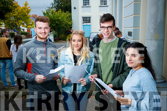 Ciarán Ó Braoin, Kayleigh Ní Mhuircheartaigh, Eoghan Ó Domhnaill and Grace Claro, students from Gaelcholáiste Chiarraí who received their Leaving Certificate results on Wednesday morning last.