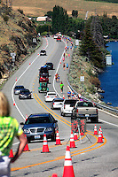 Runners competing in the annual Chelanman Multisport Weekend were on the final stretch of highway before the finishline at Lakeside Park. The annual event attracts up to 2,500 weekend athletes.