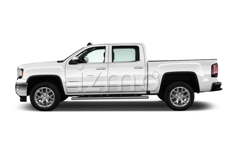 Car Driver side profile view of a 2017 GMC Sierra-1500 Crew-Cab-Short-Box-SLT 4 Door Pickup Side View