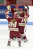 Kate Leary (BC - 28), Danielle Welch (BC - 17), Meagan Mangene (BC - 24) - The Boston College Eagles defeated the Harvard University Crimson 4-2 in the 2012 Beanpot consolation game on Tuesday, February 7, 2012, at Walter Brown Arena in Boston, Massachusetts.