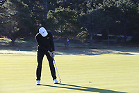 Jordan Spieth (USA) birdie putt on the 1st green during Thursday's Round 1 of the 2018 AT&amp;T Pebble Beach Pro-Am, held over 3 courses Pebble Beach, Spyglass Hill and Monterey, California, USA. 8th February 2018.<br /> Picture: Eoin Clarke | Golffile<br /> <br /> <br /> All photos usage must carry mandatory copyright credit (&copy; Golffile | Eoin Clarke)