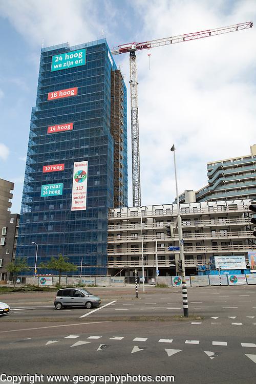 High rise tower block building under construction, Nijmegen, Netherlands
