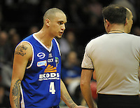Saints guard Lindsay Tait has words with referee Dallas Pickering. NBL Semifinal - Wellington Saints v Nelson Giants at TSB Bank Arena, Wellington, New Zealand on Friday, 15 July 2011. Photo: Dave Lintott / lintottphoto.co.nz