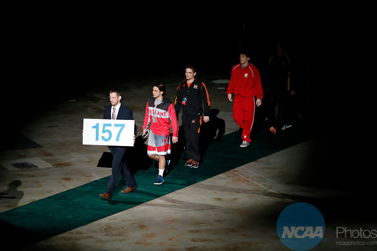 LA CROSSE, WI - MARCH 11:  The 157-pound wright class takes the stage during the Division III Men's Wrestling Championship held at the La Crosse Center on March 11, 2017 in La Crosse, Wisconsin. (Photo by Carlos Gonzalez/NCAA Photos via Getty Images)