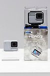 GoPro Hero 7 White camera is seen during the presentation of company's new products on September 25, 2018, Tokyo, Japan. The new Hero 7 Black is being promoted as a gimbal killer with its new HyperSmooth filming feature. The top of the range Black model will cost JPY 53,460 in Japan and there are two cheaper Silver and White versions which will be released at the same time. (Photo by Rodrigo Reyes Marin/AFLO)