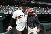 "SAN FRANCISCO, CA - APRIL 8:  John ""The Count"" Montefusco and Mario Alioto of the San Francisco Giants pose for a picture on the dugout steps waiting for a pre-game ceremony before the game against the Los Angeles Dodgers at AT&T Park on Sunday, April 8, 2018 in San Francisco, California. (Photo by Brad Mangin)"