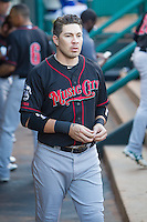 Nashville Sounds third baseman Niuman Romero (4) in the dugout prior to a game against the Oklahoma City Dodgers at Chickasaw Bricktown Ballpark on April 15, 2015 in Oklahoma City, Oklahoma. Oklahoma City won 6-5. (William Purnell/Four Seam Images)