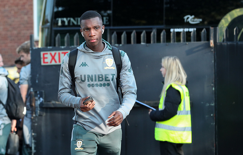Leeds United's Eddie Nketiah steps off the coach<br /> <br /> Photographer Alex Dodd/CameraSport<br /> <br /> The Carabao Cup First Round - Salford City v Leeds United - Tuesday 13th August 2019 - Moor Lane - Salford<br />  <br /> World Copyright © 2019 CameraSport. All rights reserved. 43 Linden Ave. Countesthorpe. Leicester. England. LE8 5PG - Tel: +44 (0) 116 277 4147 - admin@camerasport.com - www.camerasport.com