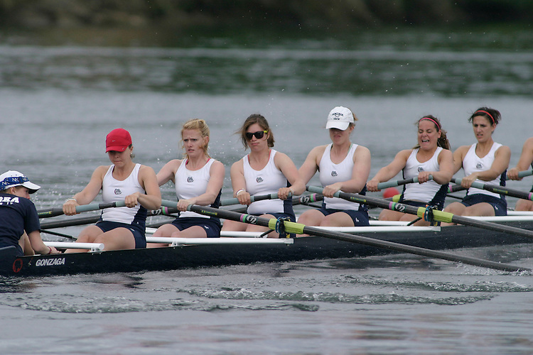 GOLD RIVER, CA - May 1:  Whitney Engle, Sam Cekovic, Jana Holcombe, Sami Koppinger, Hanna McClintock, Liz Moore, Alissa Stempson, Katie Atkins and coxswain Emily Wilson during the West Coast Conference Rowing Championships at Lake Natoma on May 1, 2009 in Gold River, California.