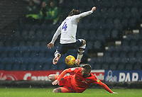Preston North End's Ben Pearson in action with Millwall's Ryan Tunnicliffe<br /> <br /> Photographer Mick Walker/CameraSport<br /> <br /> The EFL Sky Bet Championship -  Preston North End v Millwall - Saturday 15th December 2018 - Deepdale-Preston<br /> <br /> World Copyright &copy; 2018 CameraSport. All rights reserved. 43 Linden Ave. Countesthorpe. Leicester. England. LE8 5PG - Tel: +44 (0) 116 277 4147 - admin@camerasport.com - www.camerasport.com