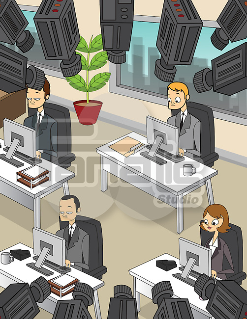 Conceptual illustration of business people working with security cameras depicting surveillance of employees