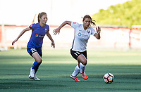 Seattle, WA - Saturday July 22, 2017: Rumi Utsugi, Kailen Sheridan during a regular season National Women's Soccer League (NWSL) match between the Seattle Reign FC and Sky Blue FC at Memorial Stadium.