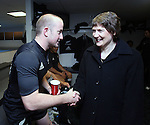 NZ Prime Minister Helen Clark congratulates Brendon Leonard, with Richie McCaw (centre) following the All Blacks v Australia Philips Tri Nations Test match. Eden Park, Auckland, New Zealand. Saturday 21 July 2007.