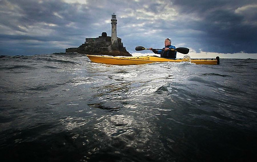 Kayaker Jim Kennedy at the Fastnet Rock, he is passionate about all things Irish, especially coastal and marine wildlife