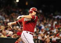 Jul. 11, 2010; Phoenix, AZ, USA; Arizona Diamondbacks shortstop Stephen Drew against the Florida Marlins at Chase Field. Mandatory Credit: Mark J. Rebilas-