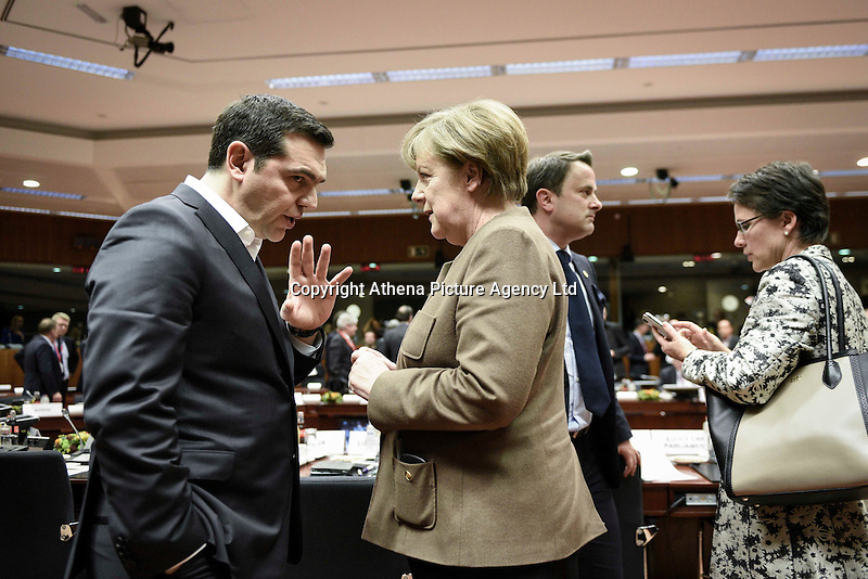 Pictured L-R: Greek Prime Minister Alexis Tsipras and German Chancellor Angela Merkel Thursday 18 February 2016<br /> Re: David Cameron looks set to secure European Union deal on Britain's reforms during a summit in Brussels, Belgium.