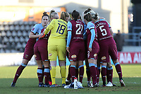 West Ham huddle before Tottenham Hotspur Women vs West Ham United Women, Barclays FA Women's Super League Football at the Hive Stadium on 12th January 2020