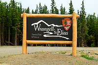 The sign at the visitor center and headquarters for the Wrangell-St Elias National Park and Preserve, Alaska