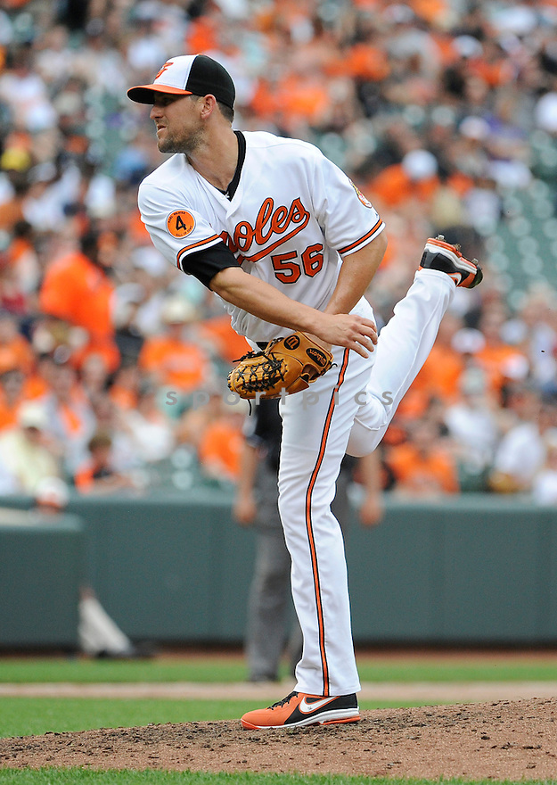 Baltimore Orioles Darren O'Day (56) during a game against the Detroit Tigers on June 2, 2013 at Oriole Park in Baltimore, MD. The Orioles beat the Tigers 4-2.