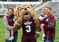 Super Bulldog Weekend Maroon &amp; White Game: fans with Bully.<br />