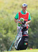 Darren Reynolds (Caddy) for Paul Dunne (IRL) on the 4th green during Round 4 of Made in Denmark at Himmerland Golf &amp; Spa Resort, Farso, Denmark. 27/08/2017<br />