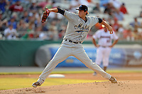 Mobile Bay Bears starting pitcher Tyler Skaggs #27 delivers a pitch during the Southern League All-Star Game  at Smokies Park on June 19, 2012 in Kodak, Tennessee.  The South Division defeated the North Division 6-2. (Tony Farlow/Four Seam Images).