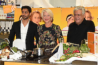 Manish Dayal, Dame Helen Mirren and Om Puri<br /> at the photocall for &quot;The Hundred Foot Journey&quot;, London. 02/09/2014 Picture by: Steve Vas / Featureflash