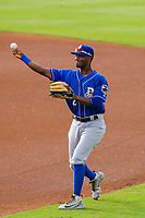 Biloxi Shuckers shortstop Luis Aviles Jr. (2) warms up in the outfield prior to a Southern League game against the Jackson Generals on July 26, 2018 at The Ballpark at Jackson in Jackson, Tennessee. Jackson defeated Biloxi 9-5. (Brad Krause/Four Seam Images)