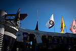 A selection of souvenir flags on sale outside the Stadio Giuseppe Meazza, also known as the San Siro, before Internationale took on Cagliari in an Italian Serie A fixture. <br /> The match was overshadowed by a huge controversy that as Inter Ultras declared open warfare on captain Mauro Icardi for a chapter in his autobiography, accusing him of lying about an incident in 2015. Inter Milan lost the match 2-1, watched by a crowd of 43,757.