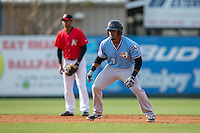 Andy Ibanez (7) of the Hickory Crawdads takes his lead off of second base against the Kannapolis Intimidators at Kannapolis Intimidators Stadium on April 10, 2016 in Kannapolis, North Carolina.  The Intimidators defeated the Crawdads 10-3.  (Brian Westerholt/Four Seam Images)