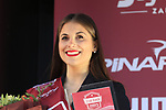 Podium girl at the prize giving ceremony of Strade Bianche 2019 running 184km from Siena to Siena, held over the white gravel roads of Tuscany, Italy. 9th March 2019.<br /> Picture: Eoin Clarke | Cyclefile<br /> <br /> <br /> All photos usage must carry mandatory copyright credit (&copy; Cyclefile | Eoin Clarke)