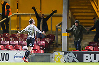 Jack Marriott of Peterborough United celebrates scoring to make it 3-0  during the Sky Bet League 1 match between Bradford City and Peterborough at the Northern Commercial Stadium, Bradford, England on 26 December 2017. Photo by Thomas Gadd.